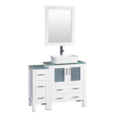 42 in. W Single Bath Vanity in White with Tempered Glass Vanity Top with White Basin and Mirror