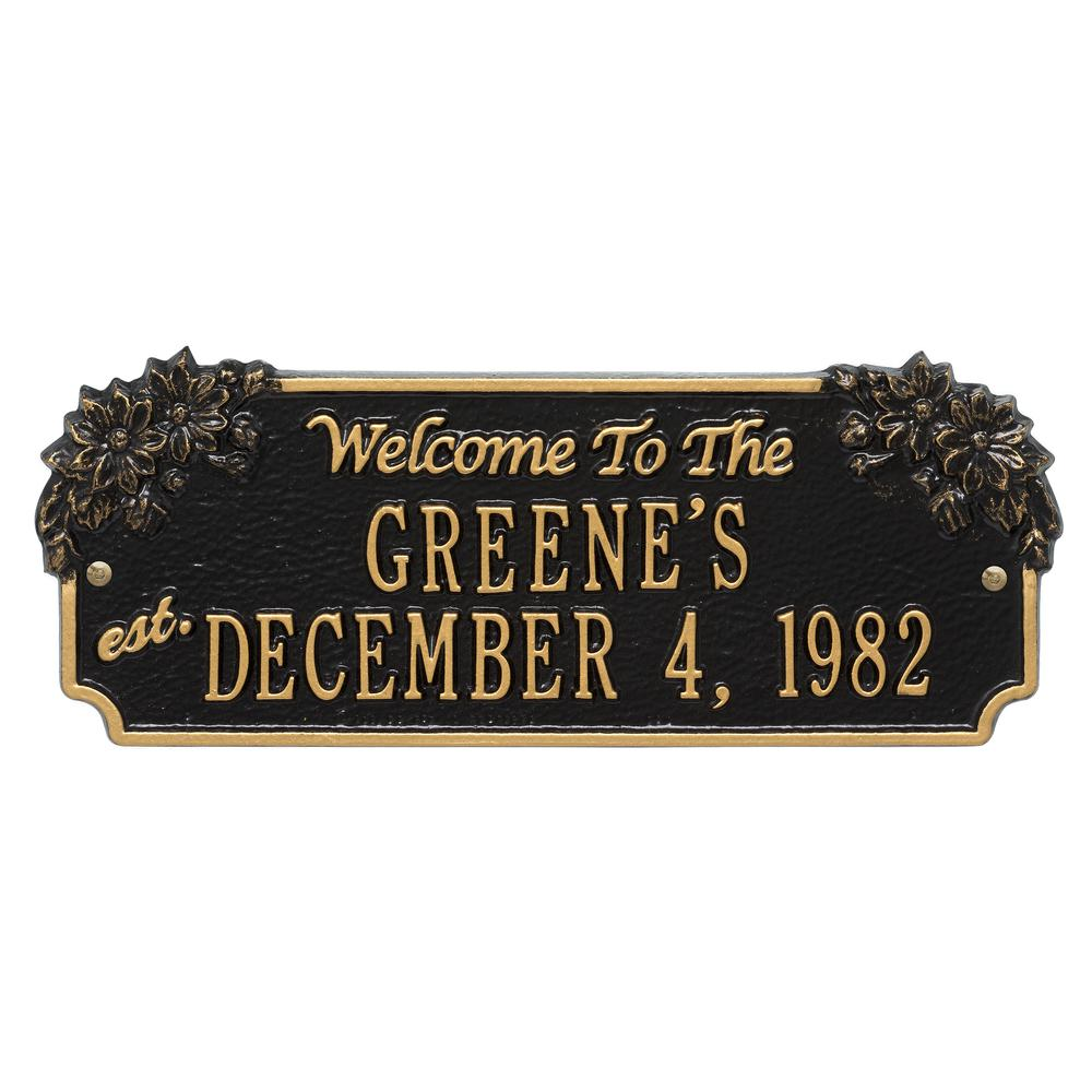 Daisy Welcome Anniversary Personalized Plaque, Black/Gold