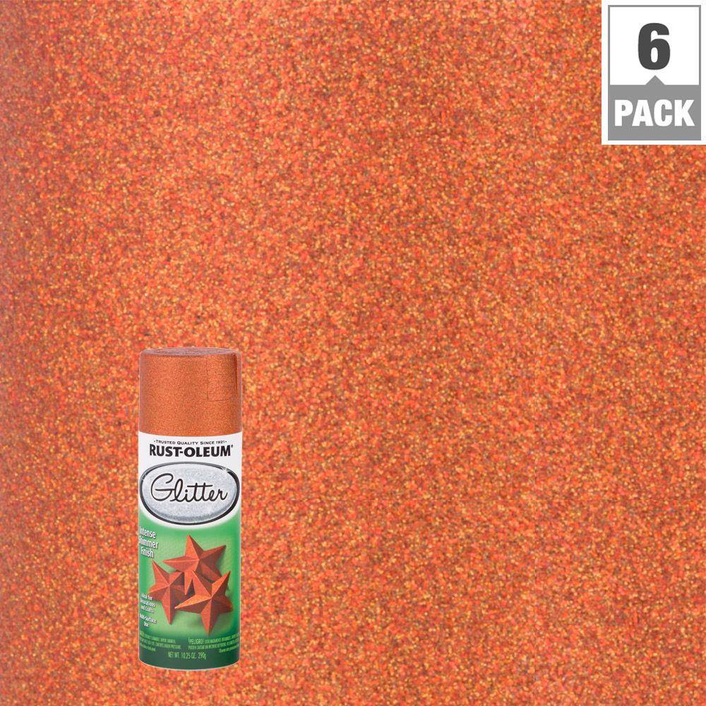 10.25 oz. Harvest Orange Glitter Spray Paint (6-Pack)