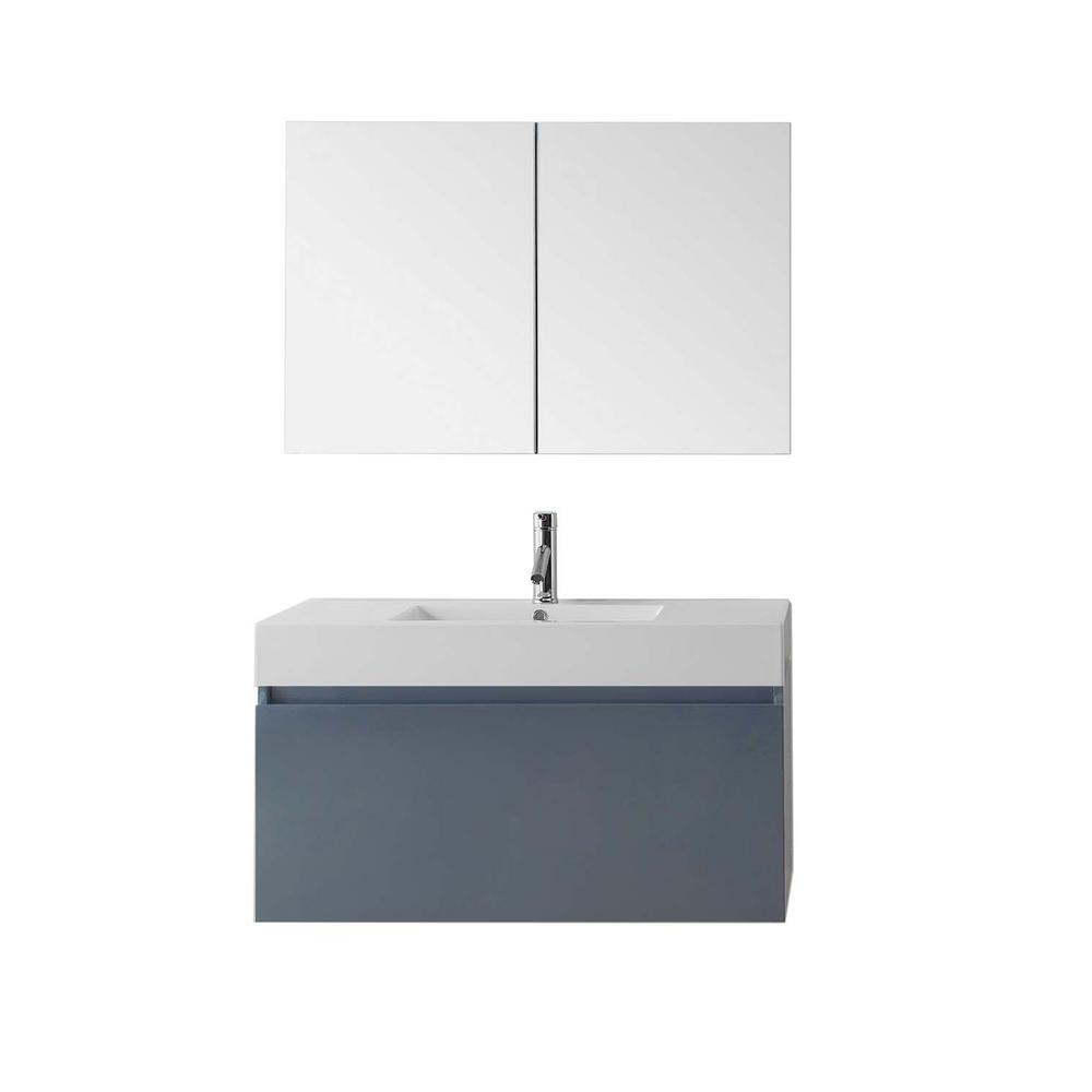 Zuri 39.37 in. W Vanity in Grey with Poly-Marble Vanity Top