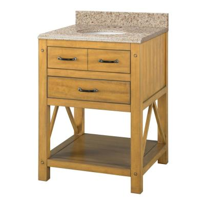 Avondale 25 in. W x 22 in. D Vanity in Weathered Pine with Granite Vanity Top in Beige with White Sink
