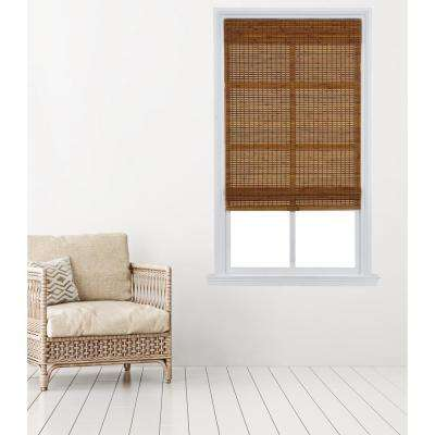 Oak Carbonized Cordless Bamboo Roman Shade - 31 in. W x 64 in. L