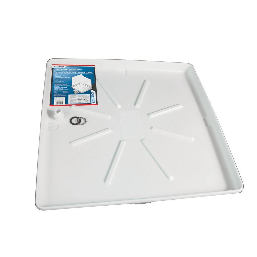 Camco 30 In X 32 In Washing Machine Drain Pan With Pvc Fitting 20752 The Home Depot