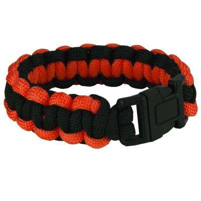 9 in. Orange and Black Paracord Bracelet