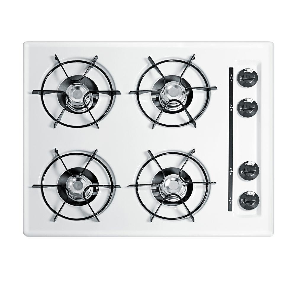 Summit Appliance 24 in. Recessed Surface Gas Cooktop in White-DISCONTINUED