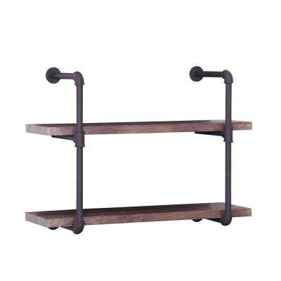 Brown Industrial Pipe-Mounted 2-Tier Shelf