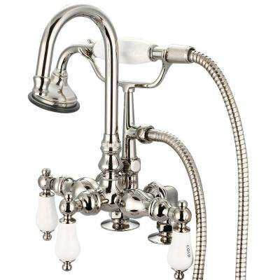 3-Handle Claw Foot Tub Faucet with Labeled Porcelain Lever Handles and Handshower in Polished Nickel PVD