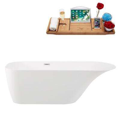 66.9 in. Solid Surface Resin Flatbottom Non-Whirlpool Bathtub in Glossy White