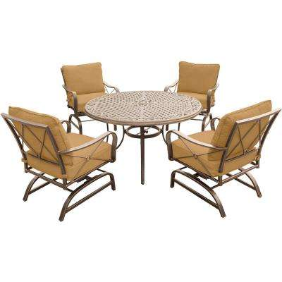 Summer Nights 5-Piece Outdoor Dining Set with Round Cast-Top Table and Steel Rockers with Desert Sunset Cushions