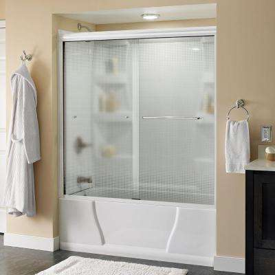 Simplicity 60 in. x 58-1/8 in. Semi-Framed Sliding Tub Door in White with Droplet Glass and Chrome Hardware