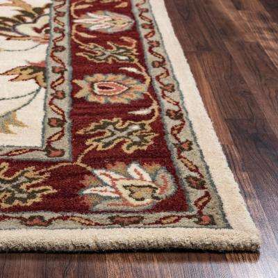 Valintino Beige Border Hand Tufted Wool 9 Ft X 12 Area Rug