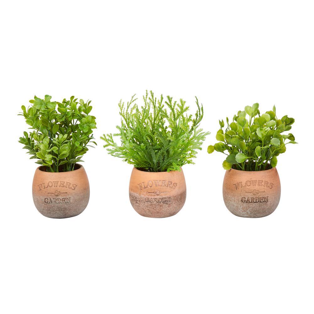 8 in. Assorted Artificial Greenery Arrangements (Set of 3)