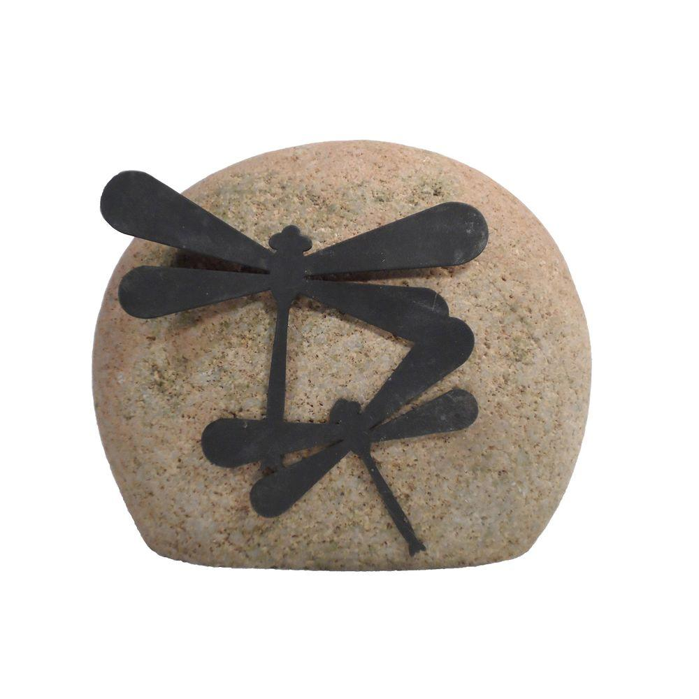 Butler Arts Sandblasted Stone with Metal Dragonflies Design Attached-DISCONTINUED