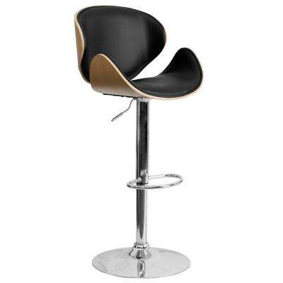Bentwood 33 in. Adjustable Height Beech and Black Cushioned Bar Stool