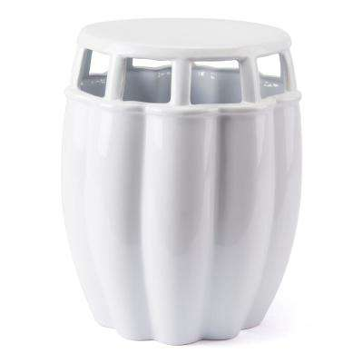 White Stone Outdoor Side Table