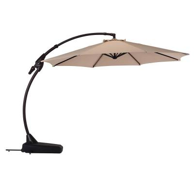 11 ft. Cantilever Patio Umbrella with Base in Beige