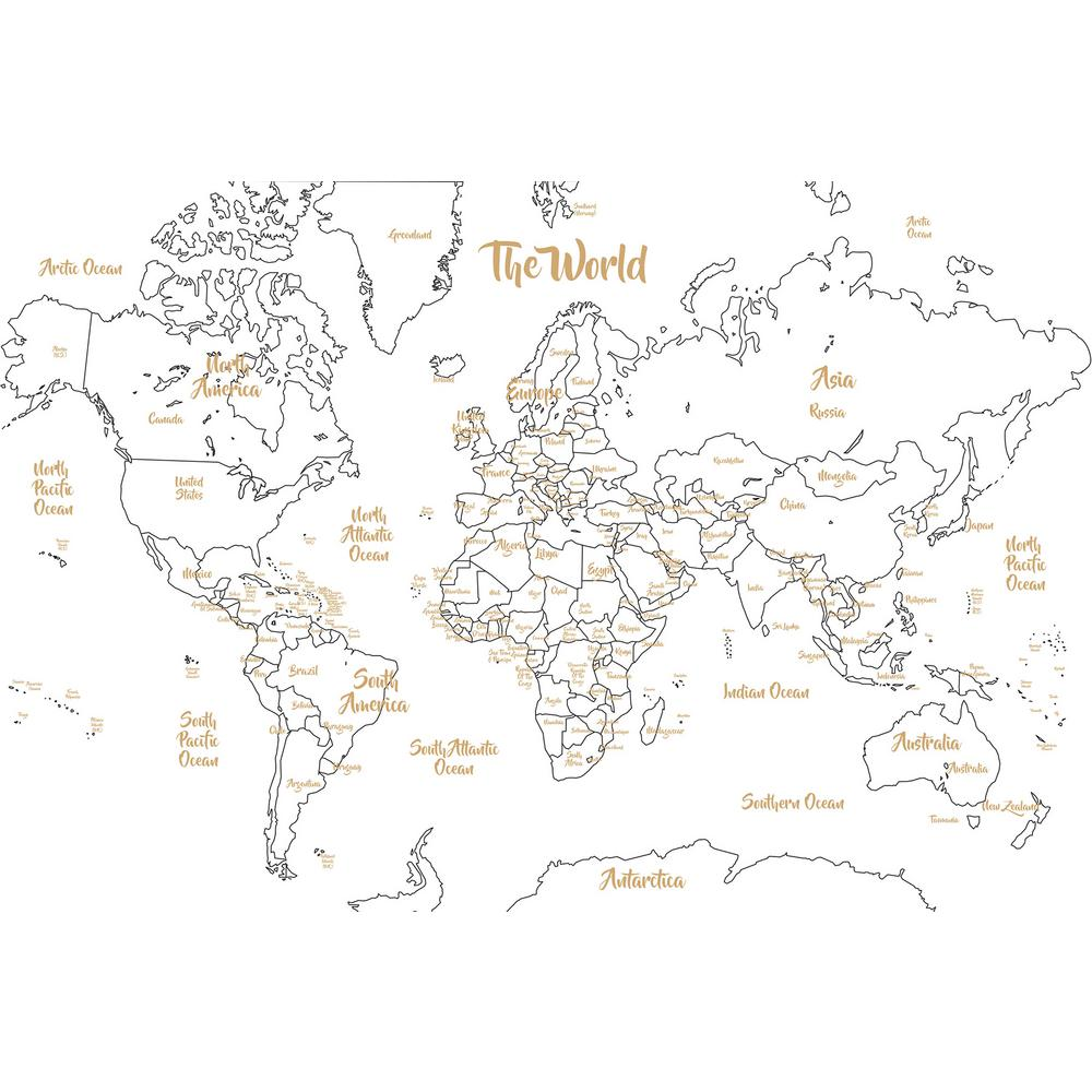 WallPOPs Metallic Glam Dry Erase Map-WPE2963 - The Home Depot