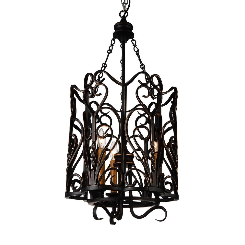 CWI Lighting Branch 3-Light Autumn Bronze Chandelier