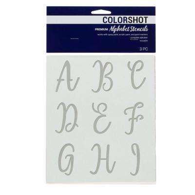 Upper Case Cursive Alphabet Stencil (Set of 2)