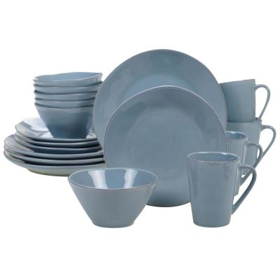 Harmony 16-Piece Traditional Teal Ceramic Dinnerware Set (Service for 4)
