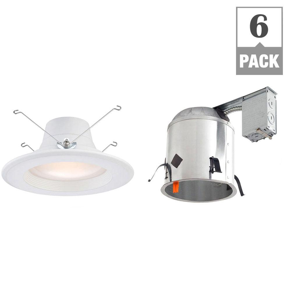 EnviroLite 6 in. 2700K Remodel Recessed Integrated LED Housing with White LED Trim Kit (6-Pack) was $94.0 now $69.7 (26.0% off)