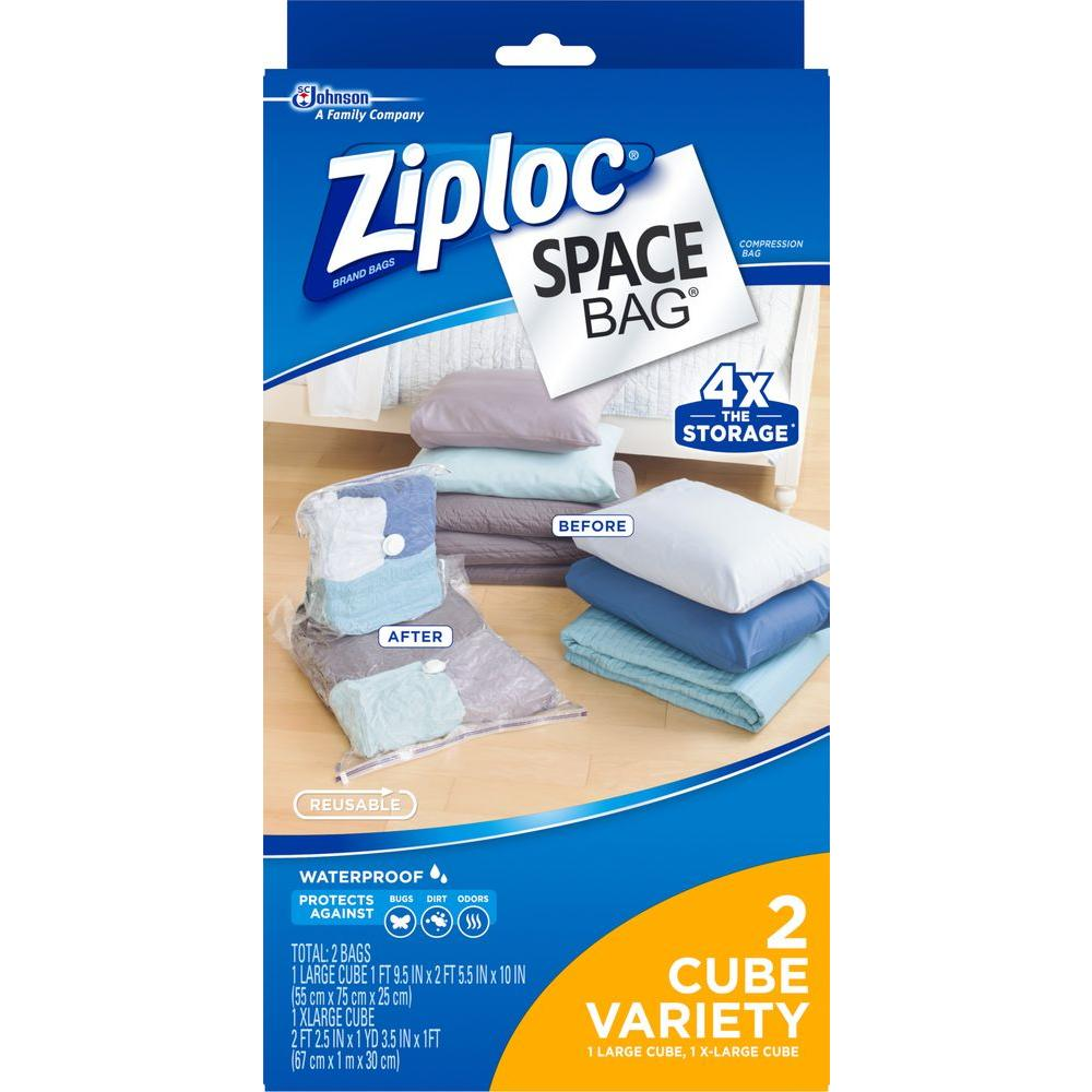 Large,  XLarge Plastic Cube Combo Space Bag 4 - 2/pack,  Clear