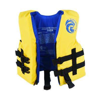 Kids Life Vest for Watersports (Yellow) - Boating, Tubing, Canoeing 30 lbs. to 50 lbs. - USCG Approved Type III