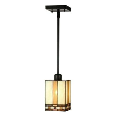 Mission 1-Light Antique Bronze Hanging Mini Pendant Lamp