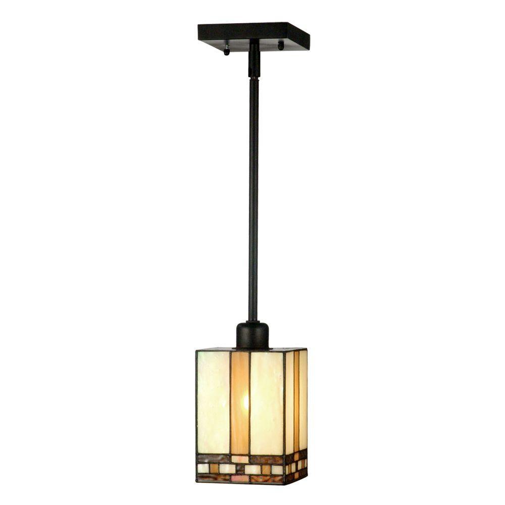 Mission 1-Light Antique Bronze Hanging Mini Pendant Lamp