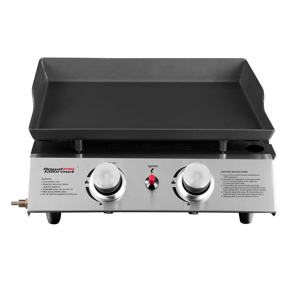Royal Gourmet 18in. Table Top 2-Burner Propane Gas Grill in Stainless-Steel with Griddle Top