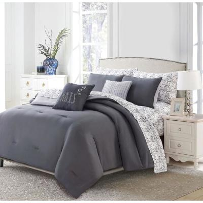 9-Piece Charcoal Parisian Queen Bed in a Bag Set