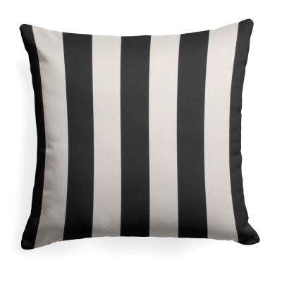 Tuxedo Stripe Black Square Outdoor Throw Pillow