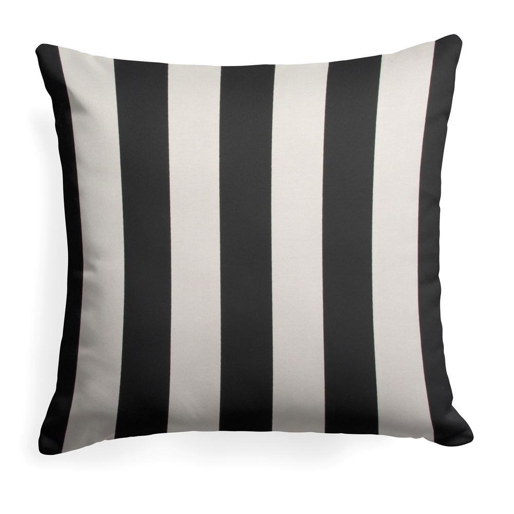 Tuxedo Stripe Black Square Outdoor Throw Pillow