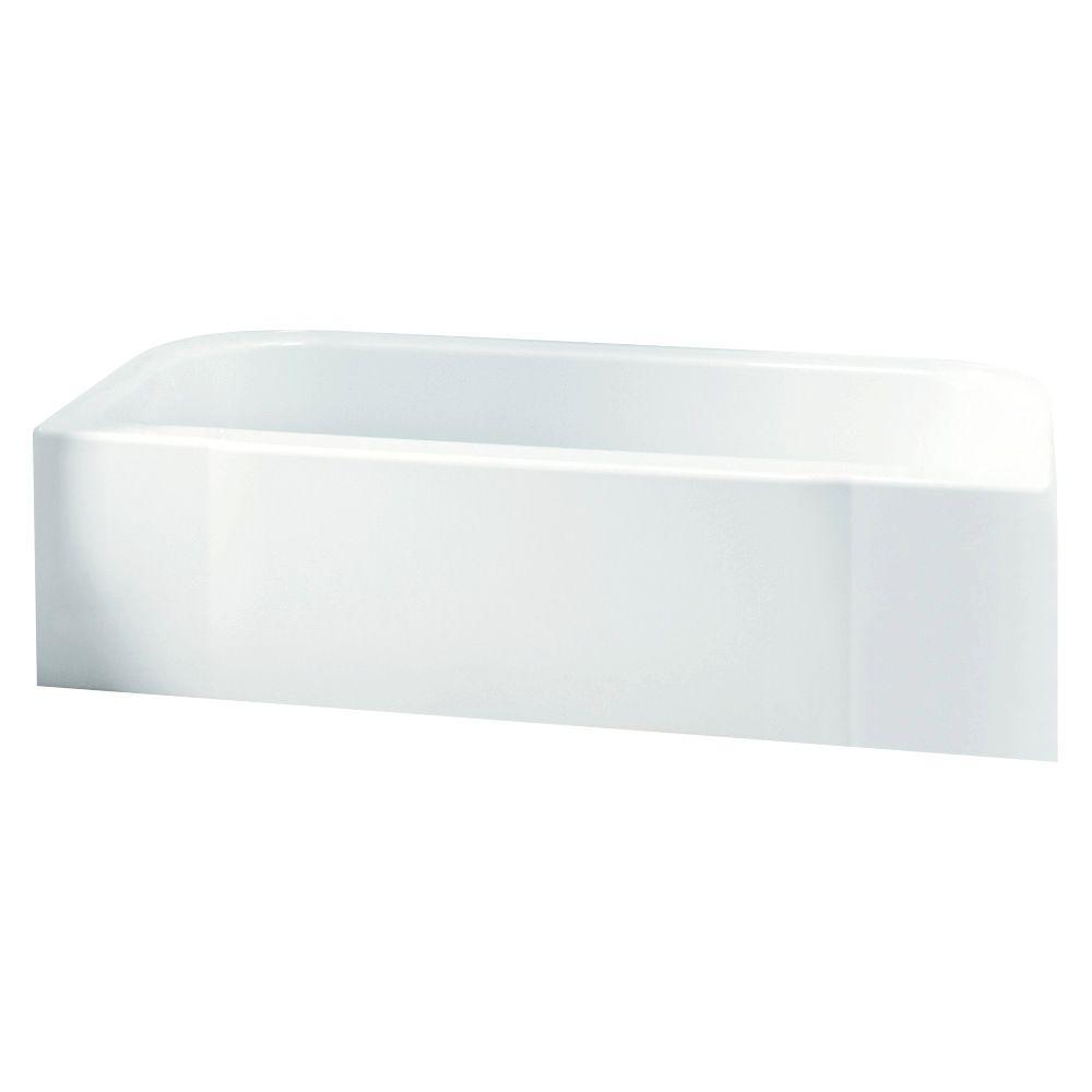 Left Drain Rectangular Alcove Soaking Tub In White