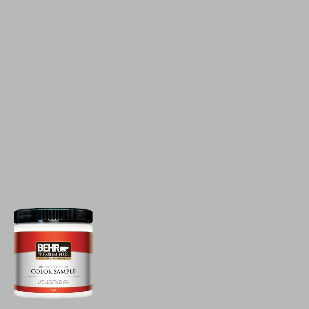 BEHR Premium Plus 8 oz. #N460-3 Lunar Surface Flat Interior/Exterior Paint and Primer in One Sample