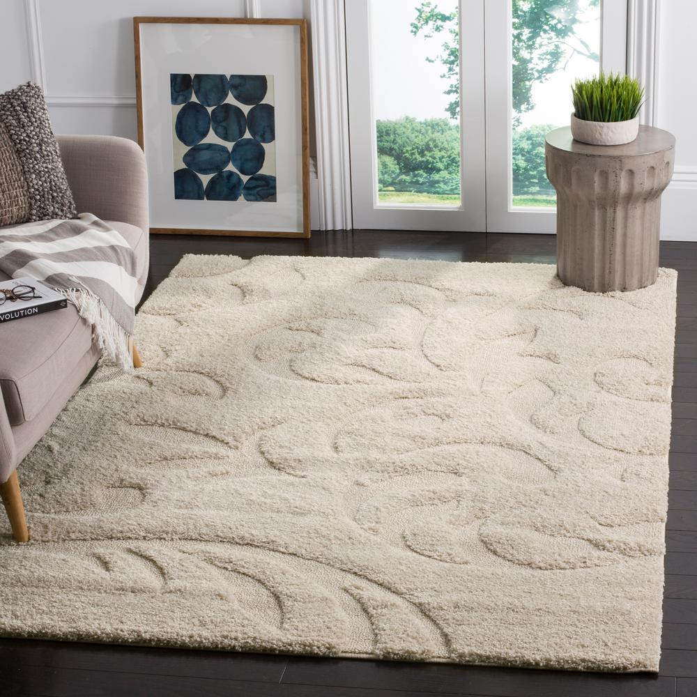 Safavieh Florida Shag Cream 8 Ft X 10 Ft Area Rug Sg468