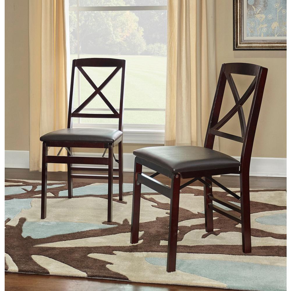 Linon Home Decor: Linon Home Decor Triena Espresso Folding Chair-01826ESP-02