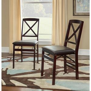 Awesome Linon Home Decor Triena Expresso X Back Folding Chairs Set Squirreltailoven Fun Painted Chair Ideas Images Squirreltailovenorg