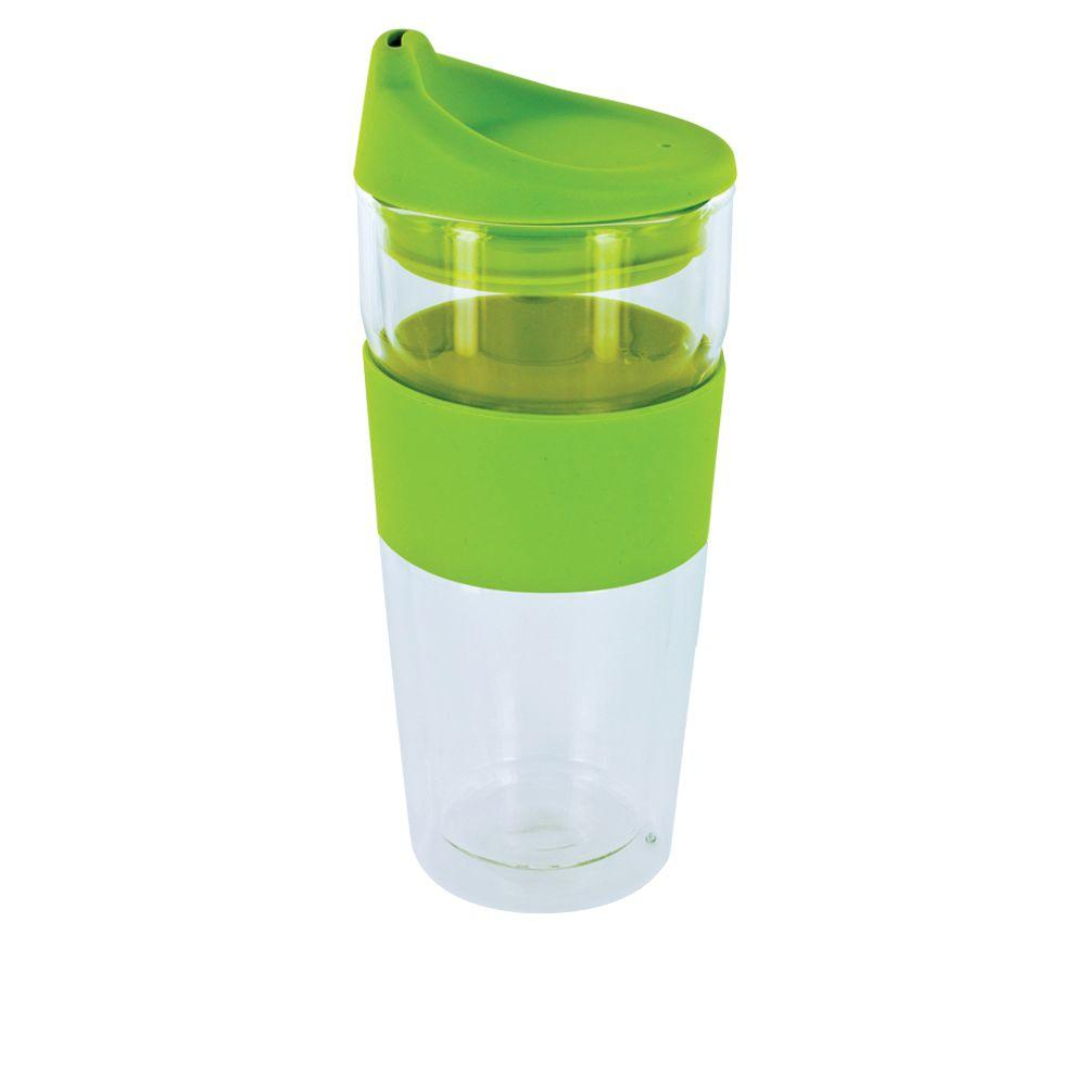 SmartPlanet Cafe Moderndo 14 oz. Glass Coffee Cup in Green