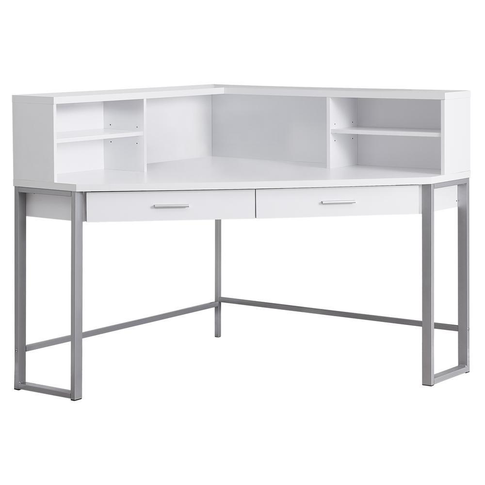 48 in. Corner White 2-Drawer Computer Desk with Shelf