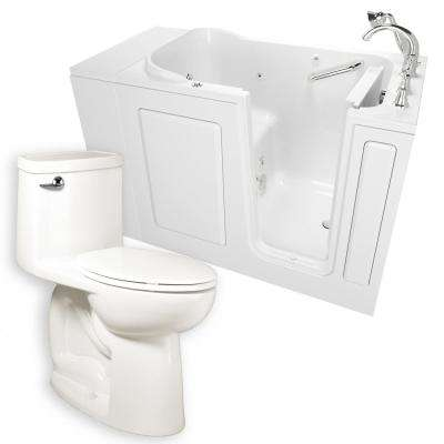 Whirlpool Right-Hand 28 in. x 48 in. Walk-In Bath, Roman Tub Filler, and Cadet 3 FloWise Tall Height Toilet in White