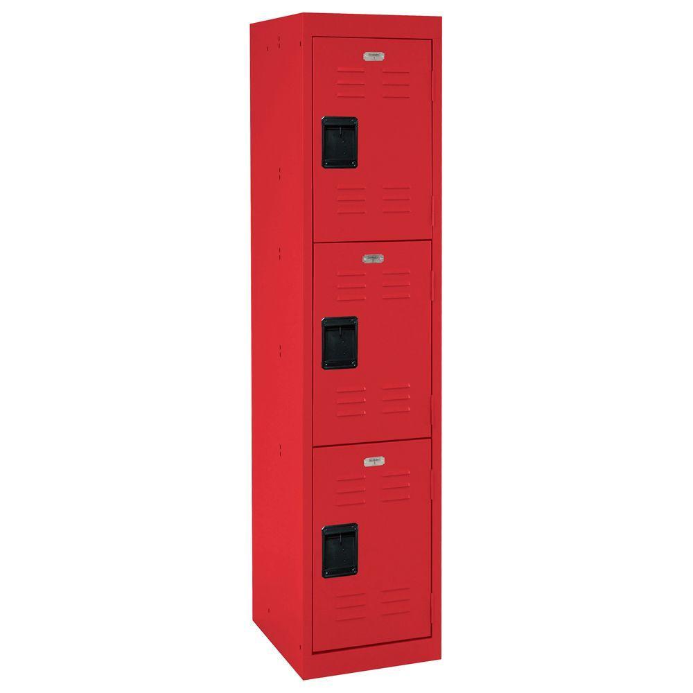 66 in. H x 15 in. W x 18 in. D 3-Tier Welded Steel Storage Locker in Red