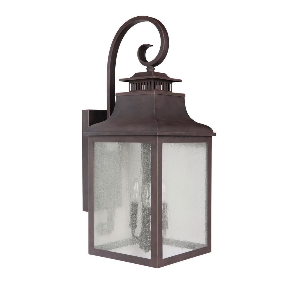 Morgan 3-Light Rustic Bronze Outdoor Wall Lantern Sconce