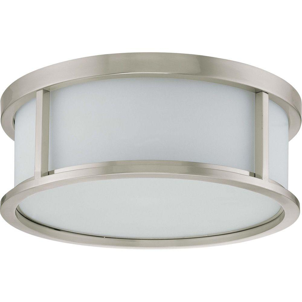 3-Light Brushed Nickel Flush Dome with Satin White Glass