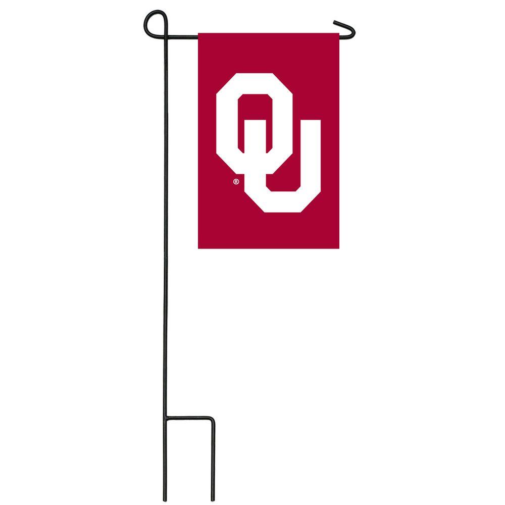Team Sports America NCAA 12-1/2 in. x 18 in. Oklahoma 2-Sided Garden Flag with 3 ft. Metal Flag Stand