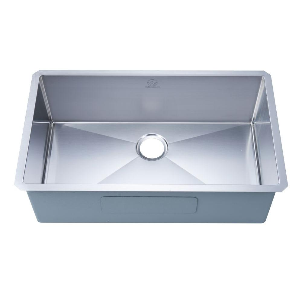 stufurhome NationalWare Undermount Stainless Steel 32 in. Single Bowl  Kitchen Sink in Stainless Steel