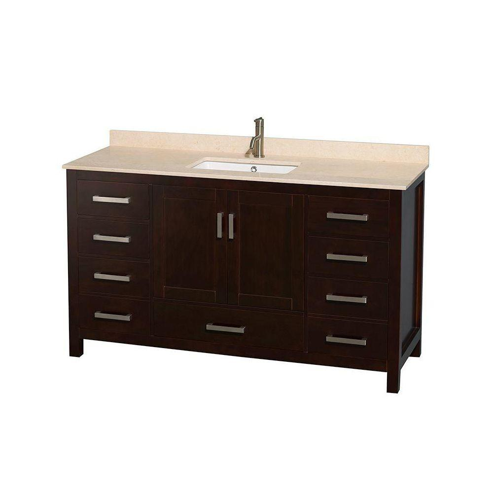 Wyndham Collection Sheffield 60 in. Vanity in Espresso with Marble Vanity Top in Ivory