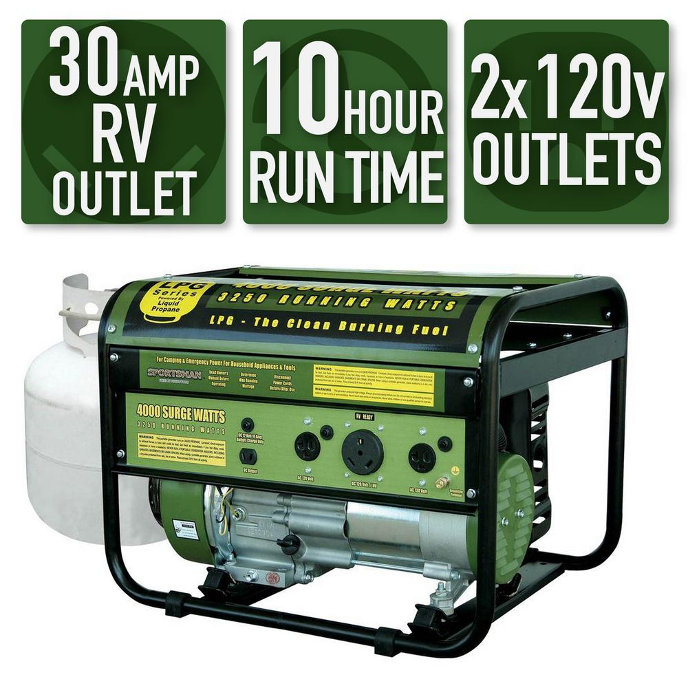 Sportsman 4,000/3,250-Watt Propane Gas Powered Portable Generator with Clean Burning LPG and RV Outlet