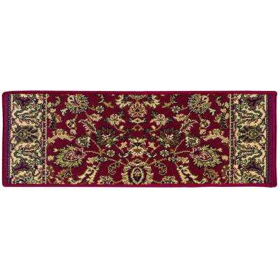 Kurdamir Kashan Claret 9 in. x 26 in. Stair Tread Cover