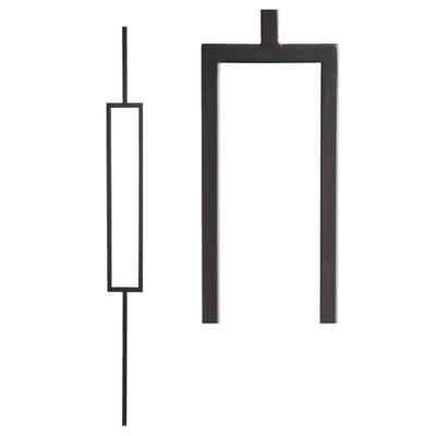 Aalto Modern 44 in. x 0.5 in. Satin Black Single Rectangle Hollow Wrought Iron Baluster